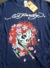 New Ed Hardy Thermal Long Sleeve Tattoo Skull Shirt Size L Beautiful Ghost