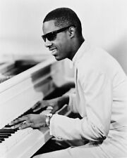 Stevie Wonder Rare 1960'S At Piano Pose B&W 16x20 Canvas Giclee