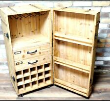 RUSTIC WOOD CHEST CRATE STYLE WINE CABINET WITH DRAWERS AND MINI BAR
