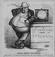 BOSS WILLIAM TWEED COUNTS THE VOTE BALLOT BY THOMAS NAST 1871 ANTIQUE ENGRAVING