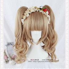 Wig Light Brown Hair Cute Harajuku Lolita Wig Cosplay Pony Tails Princess Full