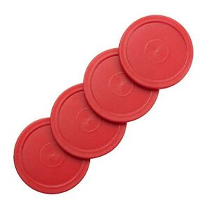 """4 Small Red Home Air Pucks for Table Hockey 2 1/2 inch 2.5""""."""