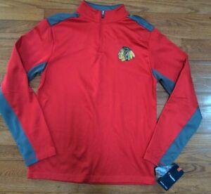 Chicago Blackhawks Hockey NHL Men's Quarter Zip Pullover Sweatshirt Sz Medium