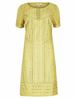 Per Una M&S Lime Green Broderie Panelled Shift Dress UK 8 CJ36 NEW Marks Spencer