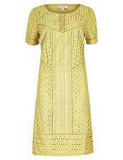 Per Una M&S Lime Green Broderie Panelled Shift Dress Plus Size UK 12 CJ42