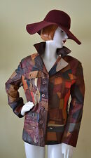 Vintage 70s Distressed RAINBOW Colors Patched Leather ROCKABILLY Hippie Jacket M