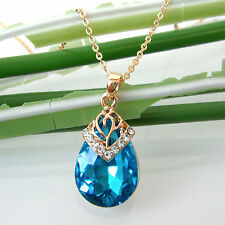 Navachi Drop Sapphire Blue Zircon Crystal Necklace Pendant BH6037
