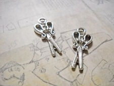 4 Scissor Charms Antique Silver Tone Pendants Stitch Markers Sewing