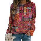 Plus Size Women Paisley Print T~Shirt Long Sleeve Casual Blouse Retro Shirts Top
