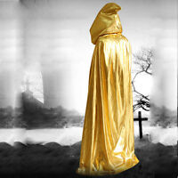 Halloween Wizard Witch Hooded Cape Robe Cloak Child Kids Medieval Fancy Dress UK