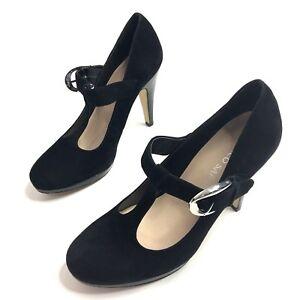 Franco Sarto Womens Nalia T Strap Pumps Black Suede High Heel Shoes Size 7 M