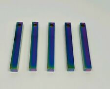 Rainbow Stainless Steel Block Bar Pendant Blank Stamping Engrave Personalise x5