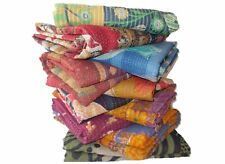 Multi New Kantha Quilt Cotton Indian Vintage Throw Bedspread Handmade Blanket