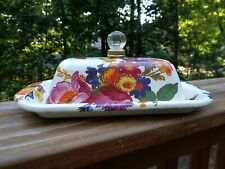 MACKENZIE CHILDS WHITE FLOWER MARKET BUTTER BOX DISH - DAMAGED