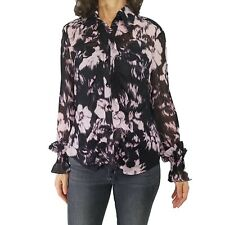 ESCADA Margaretha Ley 40 US 10 100% Silk Sheer Print Ruffle Blouse Top Shirred