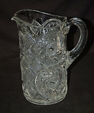 Vintage Depression Aztec Tec Pattern by McKee Press Cut Glass Lemonade Pitcher
