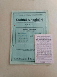 DDR Kraftfahrzeugbrief eines Skoda Oktavia 440, Bauj. 1959, DDR KFZ Brief