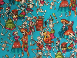 Alexander Henry Folklorico Fiesta De Los Muertos Feast of the Dead Turquoise Fab