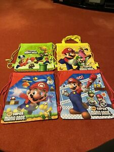 Childrens Super Mario Drawstring Bag Set Of 4