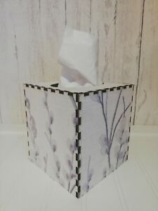Tissue Box Cover Made W/ Laura Ashley Pussy Willow Pale Iris Fabric Cube Square