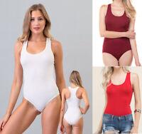 Women's Solid Colors Soft Cotton Bodysuit Sleeveless Tank Scoop Neck Racerback