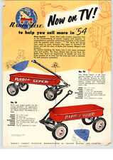 1954 PAPER AD 2 Sided Radio Flyer Coaster Wagon Rancher Super Little Red Wagon