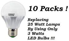 10 Packs 3 Watt LED 110V Light Bulbs = 25 Watt Replacement Saving 80% E26 Bulb