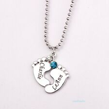 Baby bib costume necklaces pendants ebay two baby name necklace pendant birth stone silver custom feet chain sale offer aloadofball Gallery