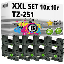 10x Farbband kompatibel Brother P-Touch PT E100 1010 1230 H100R H300 D200 TZ-251