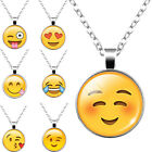 New Silver Plated Long Pendant Necklace with Glass Cabochon Cute Emoji Pattern
