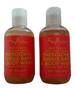 2 Shea Moisture Fruit Fusion Energizing Bubble Bath & Body Wash 3.2 fl oz each