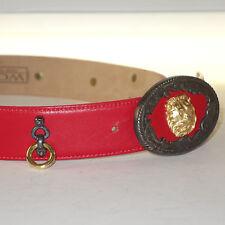 WCM New York Red Calfskin Belt Lion Head& Ornamental Studs
