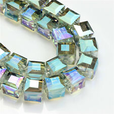 20pcs Crystal Plating Beads 10mm Glass Faceted Square Cube Jewelry Making Craft