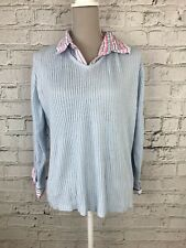MOSQUITO - Blue Pink Long Sleeve Striped Detail Jumper - Womens - Size 18-20