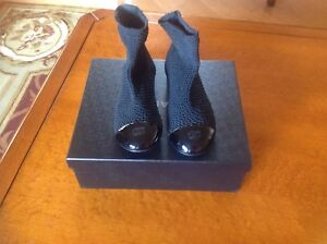 Chanel Patent Leather Fabric Sock Short Booties Sz  36