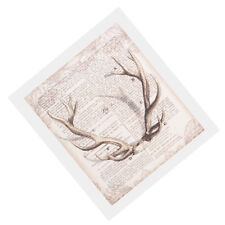 Unframed Newspaper Deer Antlers Canvas Wall Art Poster Painting Home Decor