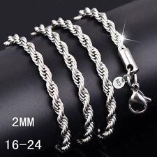 Wholesale 5 Pcs 1 Lots 2mm Twist Chain Rope Necklace 16-24 Inch Men Woman