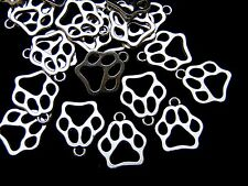 "20 Pcs - Tibetan Silver "" Dog "" Paw Print Charms Jewellery Craft Pet W10"