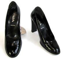 PRADA Escarpins talons 10 cm tout cuir noir verni 38.5 EXCELLENT ETAT