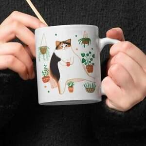 Funny Calico Cat Drinking Coffee Ceramic Mug Gift For Cat Lover Mugs Ceramic mug