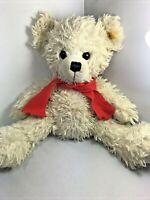Scruffy Steiff Knopf Im Ohr White Plush Stuffed Bear Toy W Red Scarf & Ear Tag