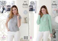 King Cole  Chunky  Knitting Pattern 4761:  Lacy Raglan Sleeve Sweaters