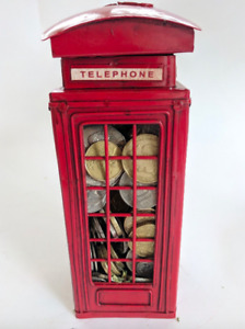 Classic Style London British Red Telephone Metal Box Money Bank Coin