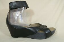OTBT Hobart Black Leather Ankle Strap Wedge Platform Sandals Shoes Womens 9 M