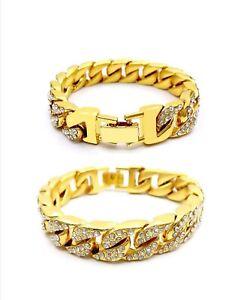 Hip Hop Men Jewelry Fashion Full Diamond Cuban Chain Men's Bracelet