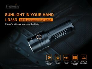 Fenix LR35R 10000 Lumens 500 meter Distance Type-C USB 21700 Recharge Flashlight