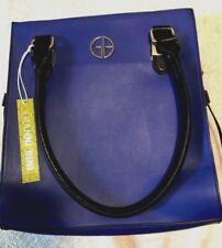 New Gianni Bini Faux Leather Cobalt Blue White Colorblock Convertible Tote Purse