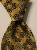 ROBERT TALBOTT Carmel Men's 100% Silk Necktie USA Luxury Geometric Yellow EUC