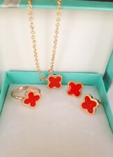 Flower *Four-leaf Lucky Clover* Red/Rose Gold Jewelry Set: Earring+Necklace+Ring