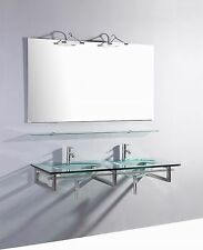55 inch Belvedere Modern Wall Mounted Glass Double Bathroom Vanity